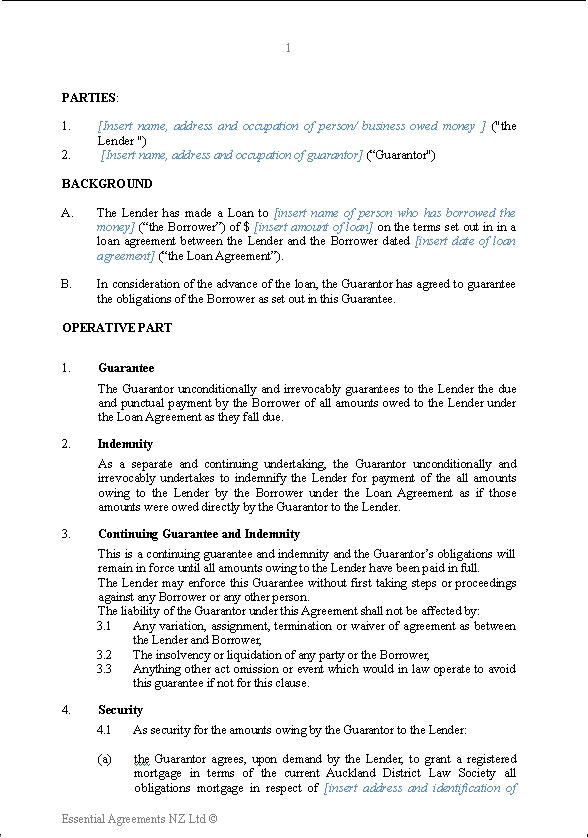 Personal Guarantees – Private Loan Agreement Template