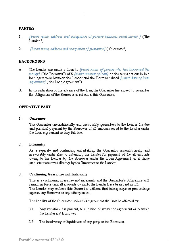 Business Guarantees – Unsecured Loan Agreement Template