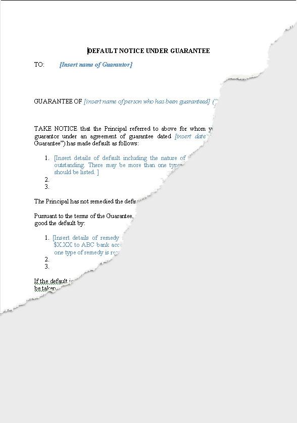 Notice of default to Guarantor