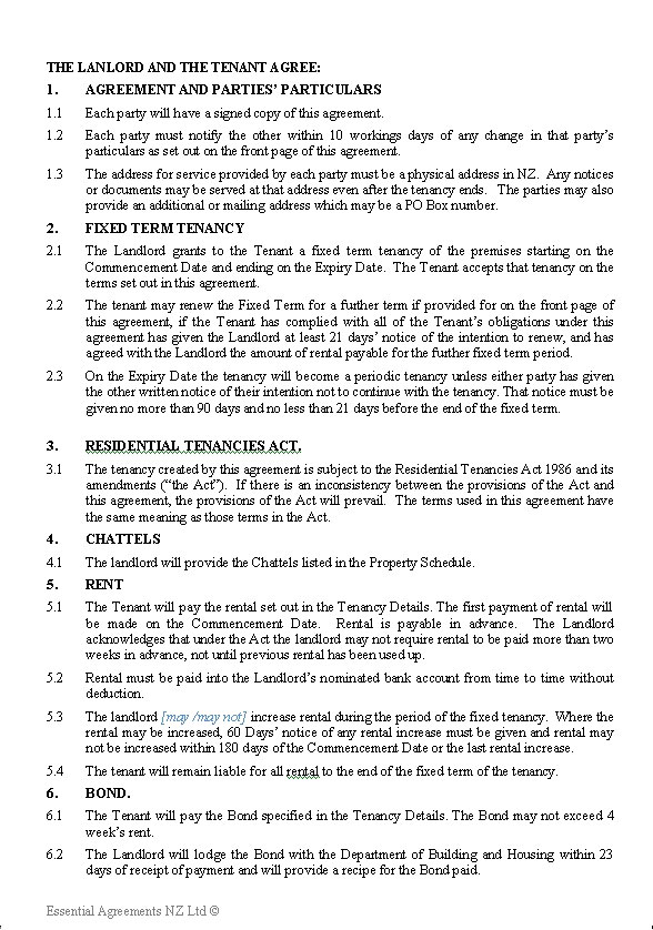 Residential Tenancy Agreement  (Fixed term)