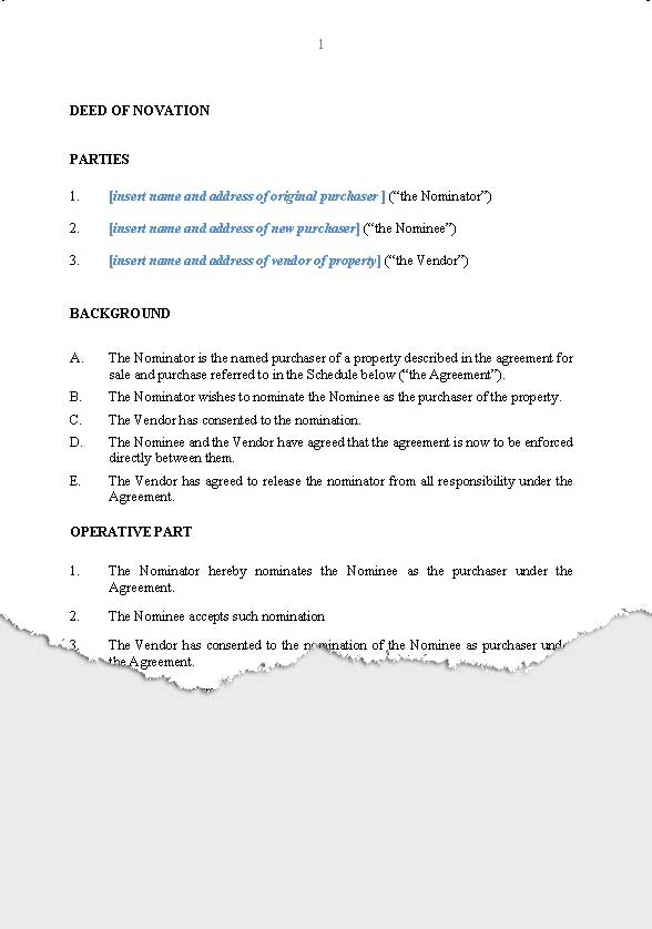 contract transfer agreement template – Novation Agreement