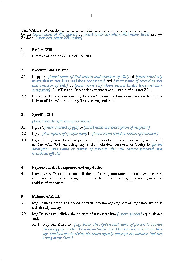 Living trust form living trust sample pdf living trust for Template for wills