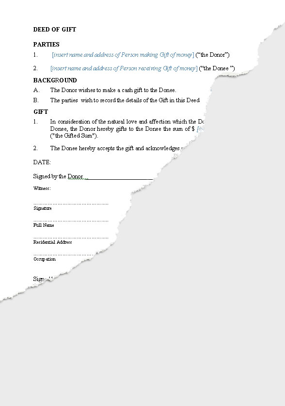 Personal – Gifts | New Zealand Legal Documents, agreements, forms ...